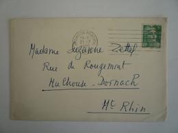 OBLITERATION MECANIQUE FRANKERS 7 LIGNES  MULHOUSE PRINCIPAL 21-07-1950 GANDON - ENVELOPPE - Marcofilie (Brieven)