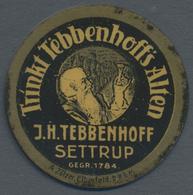 "Thematik: Alkohol / Alcohol: 1921 (ca.), Dt. Reich. Kapselgeld 5 Pf Ziffer Mit Reklame ""Trinkt Tebbe - Wines & Alcohols"