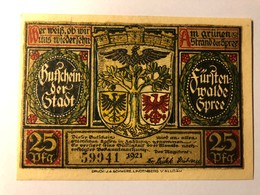 Allemagne Fursten Walde 25 Pfennig - [ 3] 1918-1933 : République De Weimar
