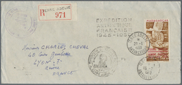 """Br Thematik: Antarktis / Antarctic: 1949/1950, TAAF, 100fr. Overprint On Registered Cover """"EXPEDITION A - Other"""