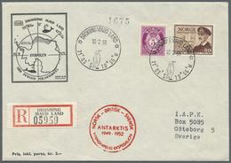 """Br Thematik: Antarktis / Antarctic: 1951, Norwegen. Illustrierter Vordruckbrief """"Sydpolen"""" Als R-Brief - Polar Philately"""