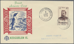 """Br Thematik: Antarktis / Antarctic: 1953/1955, French Antarctic, Two Covers With C.d.s. """"ARCHIPEL KERGU - Other"""