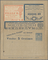 GA Thematik: Anzeigenganzsachen / Advertising Postal Stationery: 1891, France. Advertising Letter Card - Stamps
