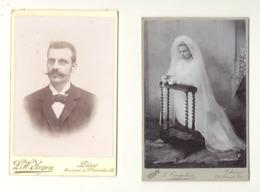 Lot De 2 Photos Sur Carton ( Grand Modèle) Communiante , Homme - Famille DENOEL - Chênée - Liège  (cor) - Persone Identificate
