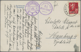 """Thematik: Arktis / Arctic: 1931, Picture Card """"Kingsbay"""" Franked With 20 Öre And Cancelled LONGYEARB - Polar Philately"""