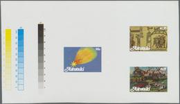 ** Thematik: Astronomie / Astronomy: 1986, AITUTAKI: Halley's Comet Complete Set Of Three In Seven Diff - Astronomy