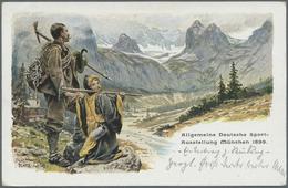 "GA Thematik: Bergsteigen / Mountaineering: 1899, Bayern. Privat-Postkarte 5 Pf Wappen ""Allg. Dt. Sport- - Climbing"