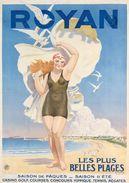 Royan Plages-casino-golf-tennis-régates 1925 - Postcard - Poster Reproduction - Publicité