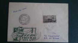 STORIA POSTALE.REPUBBLICA.BUSTA.FDC.FIERA DI MILANO.1949.RARA.180 - 6. 1946-.. Republic