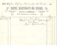 Bon De Livraison Maenhout -De Rygre Bierbrouwer-Brasseur à Lootenhulle(Lotenhulle) Pour Thielt(Tielt) VF38 - Alimentaire