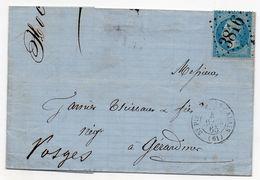 N°22 Lac Los GC 3816 St-Pierre-Lès-Calais 04/04/1865 à Gérardmer Càd Type 15 + Cachet De Ligne Paris à Strasbourg - 1849-1876: Période Classique