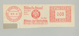 """Francotyp """"C"""" München Schütze Die Deinen Bei Der Witwen Und Waisenkasse Wwk 1884 Marktstrasse Bewegung 18.6.1936 - Affrancature Meccaniche Rosse (EMA)"""