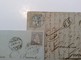 CHIASSO 1867 30 Rp REINBLAU ZNr 41b = 700CHF Sitzende Helvetia > Genova (Schweiz Suisse Lettre Cover Brief TESSIN TI - 1862-1881 Helvetia Assise (dentelés)