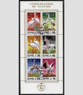 Korea 1991 Endangered Birds Animals Nature Conservation Bird Animal Crane M/S Stamps CTO Michel 3174-3179 - Cranes And Other Gruiformes