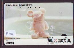 Télécarte Japon / 110-011 - DISNEY (5910)  Mickey Mouse * WELCOME IN *  Japan Phonecard Telefonkarte - Disney