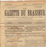 Journal LA GAZETTE DU BRASSEUR 1895 - 1896 Bière Brasserie - Andere Sammlungen