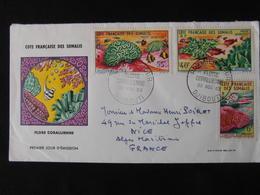 FDC COTE FRANCAISE DES SOMALIS  FLORE CORALLIENNE PREMIER JOUR DJIBOUTI 30 NOV 1963 POSTE 317 PA 34-35 - Somalië (1960-...)