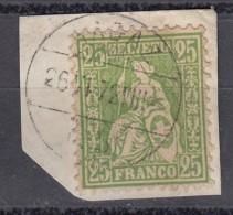 """Schweiz 25 C Sitzende Helvetia 1867 -  """"Ragaz..."""" Zentrisch 2 Kreis O , Schönes BfSt - 1862-1881 Sitzende Helvetia (gezähnt)"""