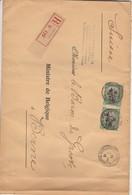 Recommandé Sainte-Adresse Vers Ministre Baron De Groote à Berne En Suisse - Verso Cachet De Cire  Affaires Etrangères - Guerre 14-18