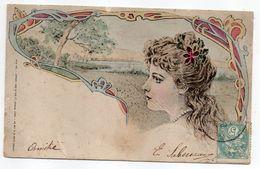 1905--Portrait De Femme Avec Collier,paysage Arbre,rivière ---dos Simple - Femmes