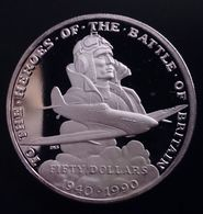 """MARSHALL ISLANDS 50 DOLLARS 1990 SILVER PROOF """"50th Anniversary - Battle Of Britain"""" Free Shipping Via Registered Air - Marshall"""