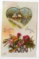 Nouvel An - Bonne Année --1926 --Paysage De Neige Forme De Coeur--fleurs   --cachet  CHEF BOUTONNE-79 - Nouvel An