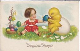 FANTAISIE--JOYEUX PÂQUES--( Enfant + Sorti Du Poussin De L'oeuf )--voir 2 Scans - Easter