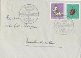 Schweiz - SUISSE 1952: Zu PJ144-5 Mi 576-577 Damenbrett & Marienkäfer / Demi-Deuil & Coccinelle FDC BERN 1.XII.52 - Butterflies