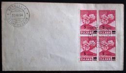 ISLANDE -- First Day Issue Reykjavik - Yvert 250 In Block Of 4 - Timbres De 1948 Surchargés - 1944-... Republique