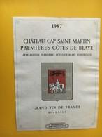 6778 - Château Cap Saint Martin 1987 Premières Côtes De Blaye Weinkellerei Zum Stauffacher Calèche - Bordeaux