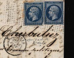 YT N° 14 X 2 Napoléon Empire Oblitération Roulette De Petits Points CAD 1367 Diabolo Ind Pothion 25 Cote 1200 Euros - Roulettes