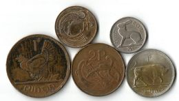 Lot 5 Pièces De Monnaie 1 Penny 2 - 3 Pence Et 1 Shilling - Irlande