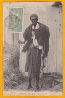1910 - CP De Djibouti Vers Aiguillon, Vendée, France - Affrt 5 C Seul  - Vue : Guerrier Abyssin - Côte Française Des Somalis (1894-1967)