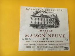 6783 - Château De Masion Neuve 1978 - Bordeaux