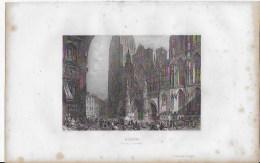 Lithographie ,Rouen,la Cathédrale - Lithographies