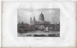 Lithographie ,Londres ,vue De ST Paul - Lithographies