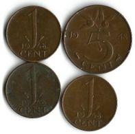 Lot 4 Pièces De Monnaie 1 Et 5 Cents  1948 - [ 3] 1815-… : Royaume Des Pays-Bas