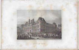 Lithographie ,Paris ,hotel De Ville - Lithographies