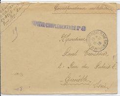 1916 - PAS DE CALAIS - ENVELOPPE FM De L'HOPITAL COMPLEMENTAIRE N°40 à LE TOUQUET => GRENOBLE - Guerra De 1914-18