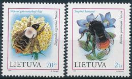 Mi 698-99 ** MNH Insect Bee Dasypoda Argentata Humble-bee Bumblebee Bombus Pomorum - Lithuania