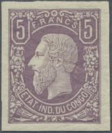 ** Belgisch-Kongo: 1886, 5fr. Violet Imperforate, Unmounted Mint. Mi. 850,- €. - Unclassified