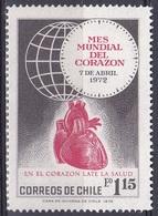 Chile 1972 Medizin Medicine Gesundheit Health Herz Heart Corazon Globus Welt-Herzmonat, Mi. 771 ** - Chile