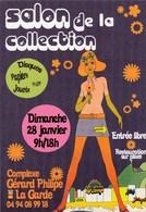 Carte Postale, Très Années Sixties, Pour Le 14° Salon De La Collection à LA GARDE Dans Le 83. 2018. (fond Violet) - Bourses & Salons De Collections