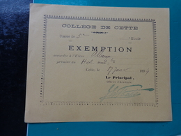 College De CETTE  Billet D'exemption-année 1894-eleve Alberge Coloris Jaune - Diplômes & Bulletins Scolaires