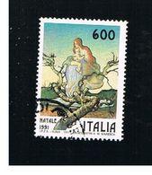 ITALIA REPUBBLICA  - SASS. 1979     -      1991  NATALE   -      USATO - 6. 1946-.. Repubblica