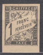 Colonies General Issues Timbre-taxe 1884 Duval 1 Franc Yvert#12 Black, Mint Hinged, Signed - Postage Due