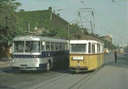 BUS AUTOBUS IKARUS * TRAM TRAMWAY RAIL RAILWAY RAILROAD BKV * VOROSVARI STREET OBUDA BUDAPEST * Reg Volt 0002 * Hungary - Buses & Coaches