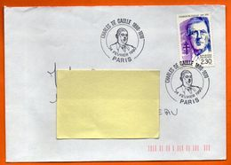 PARIS  CHARLES DE GAULLE    1990  Lettre Entière N° KK 46 - Postmark Collection (Covers)