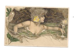 SUPERBE CPA MONTAGE  FEMME NUE (NYMPHE)    ART DECO -  STYLE MUCHA - Raphael Tuck - Série 124 - - Tuck, Raphael