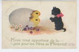 """POUSSINS - CAT - Jolie Carte Fantaisie Poussins Et Chat De """"Joyeuses Pâques """" - Chats"""